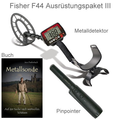 Metalldetektor Premium Ausrüstungspaket Fisher F44 mit Deteknix Xpointer Pinpointer
